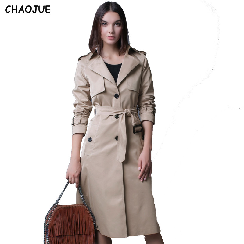 CHAOJUE 4XL NEW Single Breasted   Trench   Coat British Ladies Loose Extra-long Beige Coat For Women Causal Stylish Black Pea Coat