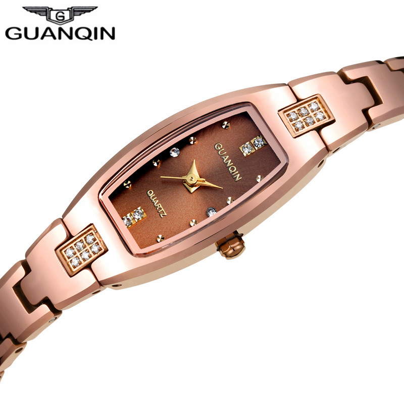 Luxury Brand GUANQIN Elegant Women Dress Rectangle Tungsten Steel Quartz Watch Ladies Fashion Bracelet Watches relogio feminino guanqin quartz watches fashion watch women dress relogio feminino waterproof tungsten steel gold bracelet watches relojes mujer