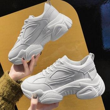 b70b2d2f1 Осенние массивные кроссовки женские кроссовки 2019 кожаные белые кроссовки  на платформе повседневная обувь женские кроссовки basket chaussures femme