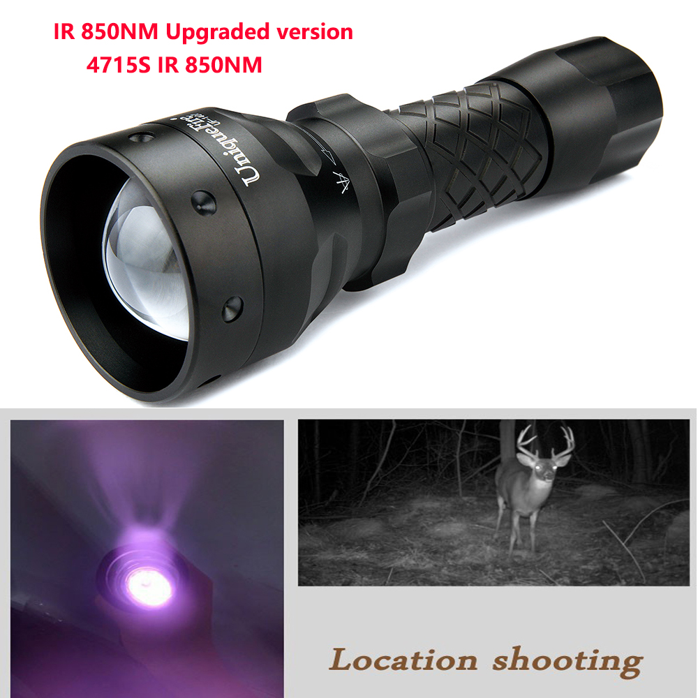 UniqueFire 1407 IR 850NM 4715S Night Vision Flashlight 3 Modes Zoom Focus Infrared Light Night Vision Led Torch for Hunting uniquefire 1407 torch 850nm ir led torch zoomable 3 mode flashlight night vision lantern and pressure switch for 1 18650 battery