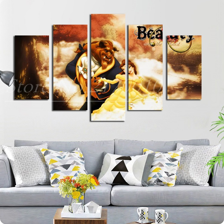 Beauty and the Beast Cartoon Canvas Painting Home Wall Artwork Movie Poster Portrait HD Picture Unframed National Teams Logo