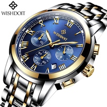 Mens Watches Top Brand Luxury WISHDOIT Fashion Business Watch Men Stainless Steel Waterproof Quartz relogio masculino
