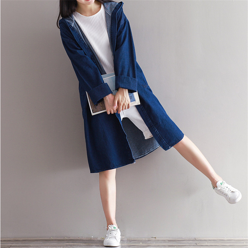 OLGITUM Fashion Women Denim coat female blue Cowboy spring lady   trench   coat for girl tops TR025