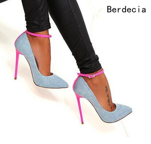 ФОТО Sexy Pointed Toe Blue Denim 2017 Newest Arrival Pink Thin Stiletto Heels Buckle Strap Gladiator Sandals Hottest Selling Pumps