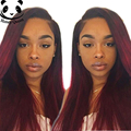 7A Straight Ombre Lace Wig Ombre Full Lace Human Hair Wigs For Black Women Brazilian Lace Front Wigs 1B/Burgundy Straight Wig