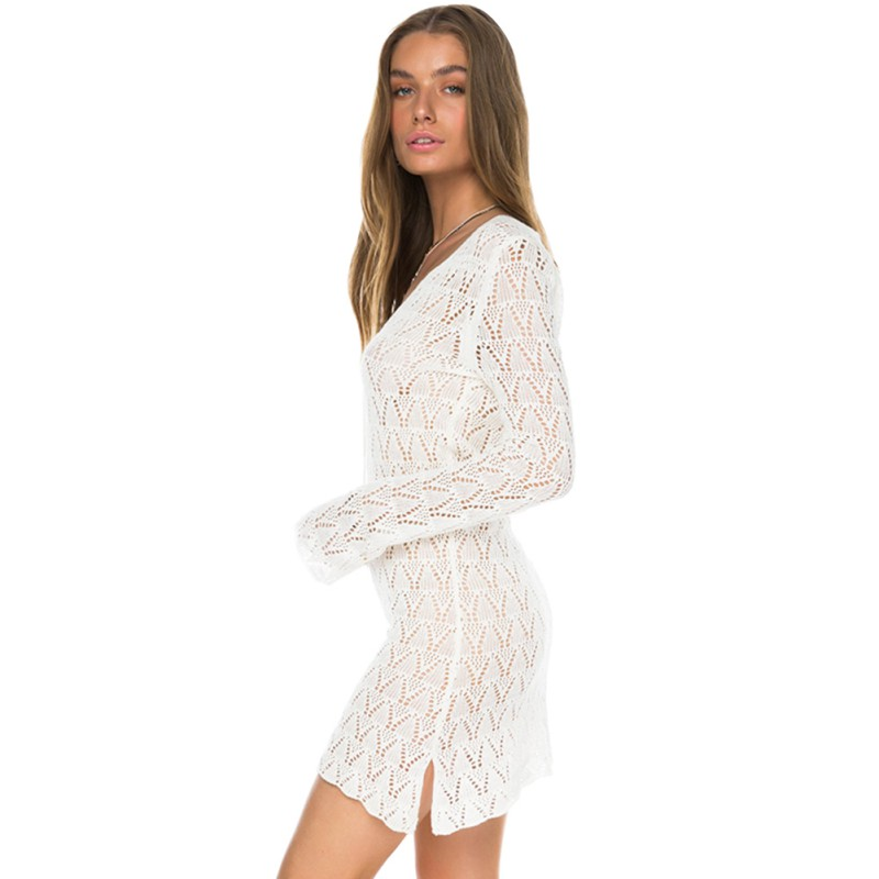 Women Beach Dress Sexy Crochet Knitted Sweater Mini Dress Solid V-neck Hollow Out Fashion Dresses Summer Women Clothing sexy jewel neck various hollow out solid color mini dress for women