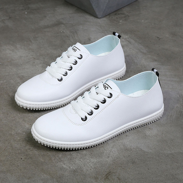 Women Sneakers White Vulcanized Shoes Lace  4