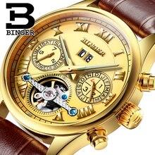 Швейцария БИНГЕР часы мужчины luxury brand Tourbillon сапфир световой несколько функций Механические Наручные Часы B8602-11