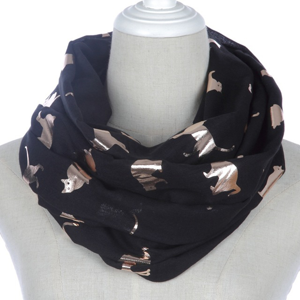 Winfox Fashion Loop Snood   Scarf   Female Shiny Pink Grey Navy Foil Gold Metallic Cat Loop   Scarf     Wrap   Shawl Foulard Ladies Women