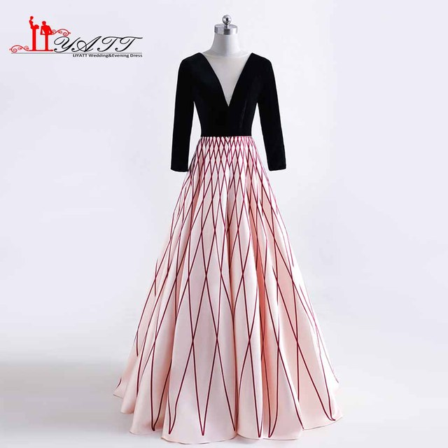 Long Sleeves Pattern Prom Dresses Printed Long Evening Party Dress V ...