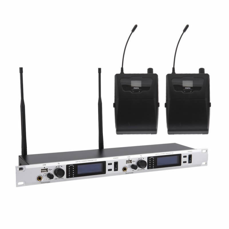 UHF Dual Channel Wireless In Ear Monitor System Inear Monitoring Earphones Headphones with Bodypack 2 Receivers 572-829MHZ free shipping micwl g3 dual channel uhf wireless monitor monitoring system 1 transimtter with multiple receivers