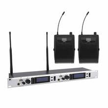 UHF Dual Channel Sem Fio In Ear Monitor System Monitoramento Inear Fones De Ouvido Fones De Ouvido com Bodypack 2 Receptores 572-829 mhz