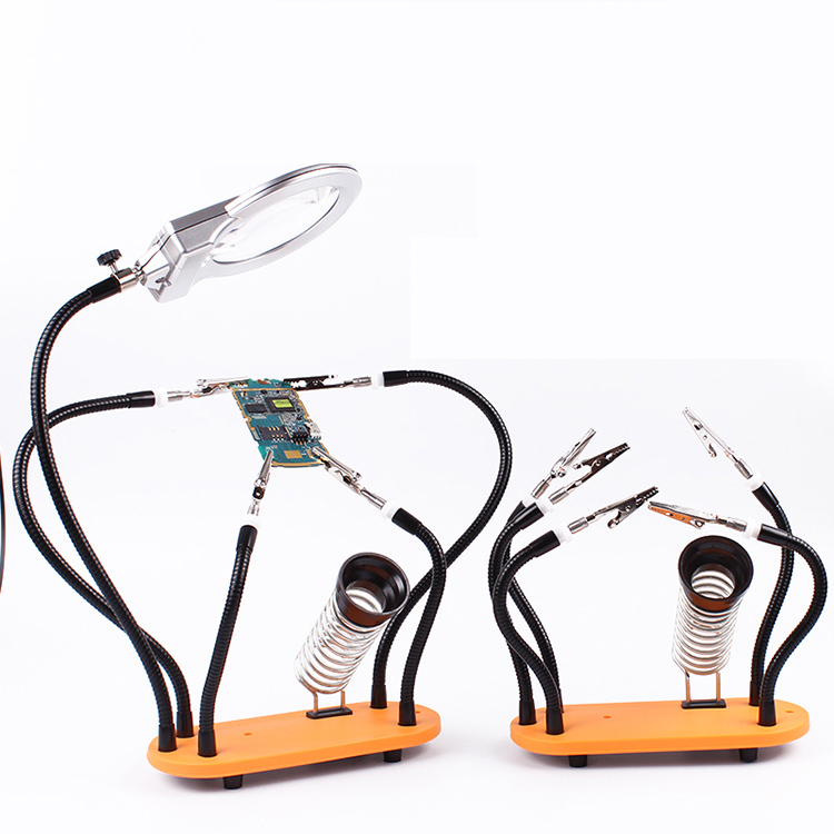Helping Hands Soldering Tool Third Pana Hand PCB Circuit Board Holder Stand with Magnifier Metal Flexible Arm Alligator Clip