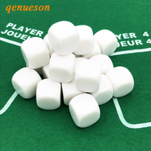 100Pcs/Lot White 16mm Blank Dice Acrylic Rounded Corner Hexahedron RPG Board Games DIY Carving Children Teaching