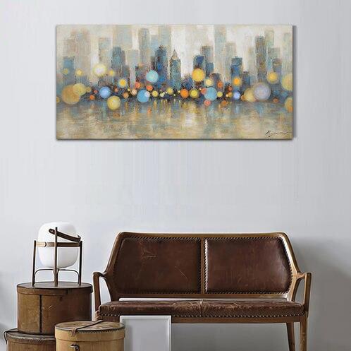 Nachtansicht New York City Skyline Moderne Leinwand Ölgemälde Handgemalte Dekorative Poster Für...