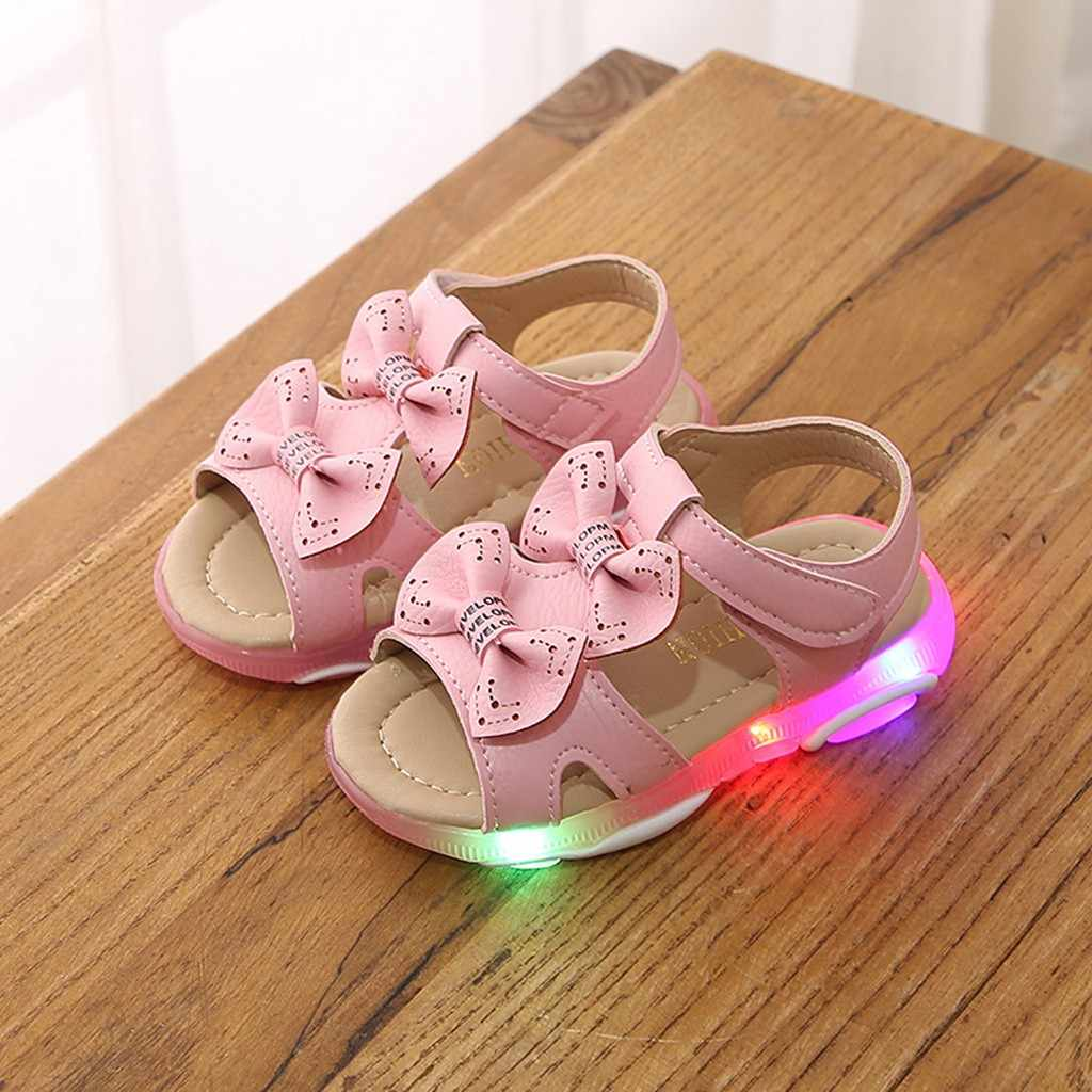 2019 New Baby Girl Sandals Shoes Children Baby Girls Bowknot Led Light Luminous Sport Sandals Sneaker Shoes sapatos #T1