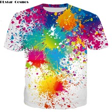 PLstar Cosmos Drop Shipping Rainbow Paint Splatter Print Tops 2018 summer Men Women Hipster 3D Hoodies Street Harajuku Tees