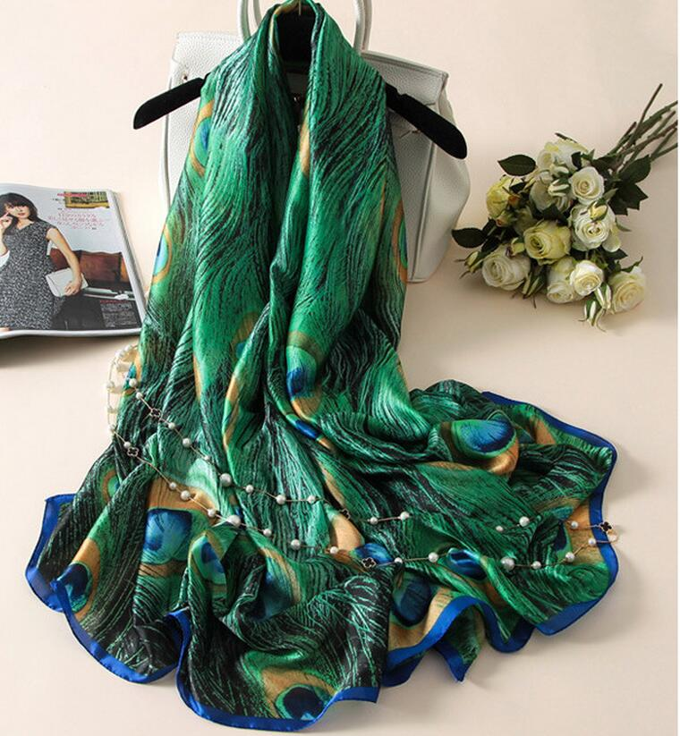 [Peacesky] New Fashion Designer Silk Scarfs Women Luxury Brand Print Peacock Feathers Silk Foulard Scarf