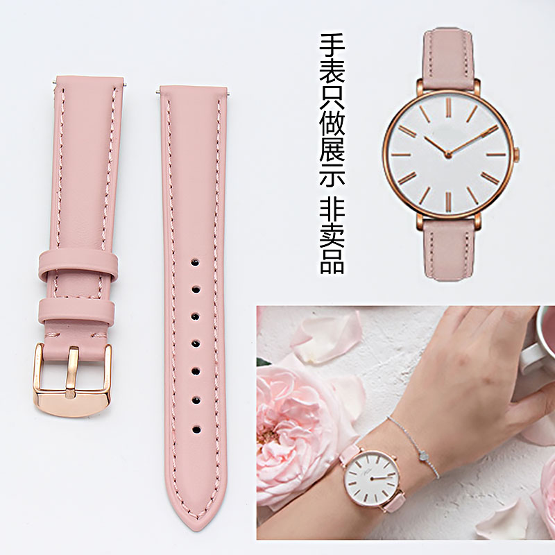 14mm 15mm 16mm 17mm 18mm 19mm 20mm rose gold real leather strap, watch band, pink, blue and Gray Lady Watch free postage.-in Watchbands from Watches