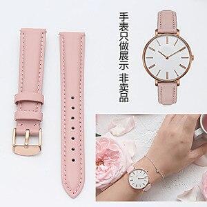 Image 1 - 18 17 16 15 14mm mm mm mm mm mm 20 19mm rosa de ouro pulseira de couro real, faixa de relógio, cor de rosa, azul e Cinza Relógio de Senhora porte livre.