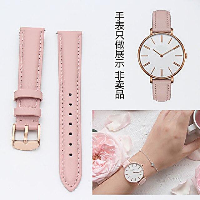 Bracelet en cuir véritable or rose, 14mm 15mm 16mm 17mm 18mm 19mm 20mm, bracelet de montre, rose, bleu et gris, livraison gratuite pour montres pour femmes
