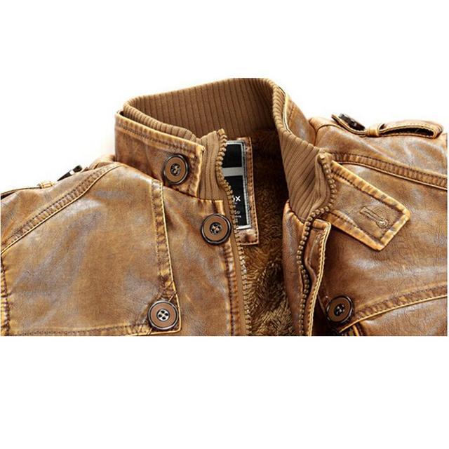 Leather Jacket men Slim Warm mens washed Leather Motorcycle Biker Jackets Standing Collar Coat Plus size XXXL Outwear parka