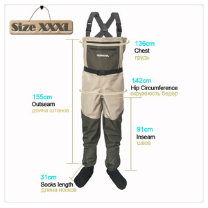 Image 2 - Fly Fishing Waders Clothing Portable Chest Overalls Waterproof Clothes Wading Pants Stocking Foot Good As Daiwa For Fish Shoes