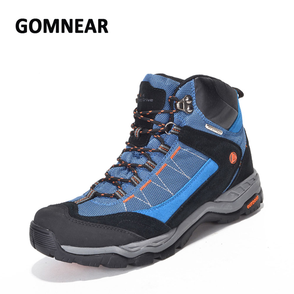 GOMNEAR Waterproof Hiking Shoes Men Breathable Climbing Mountain Sneakers Big Size Comfortable Sport Shoes Antiskid Sneakers peak sport men outdoor bas basketball shoes medium cut breathable comfortable revolve tech sneakers athletic training boots