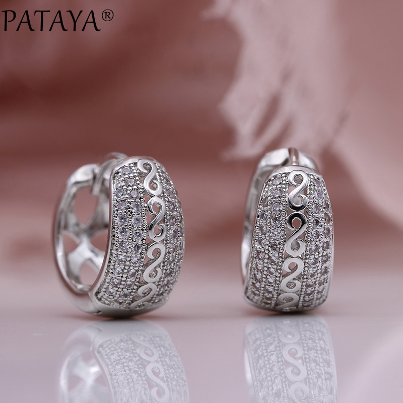 PATAYA New Natural Zircon Hollow Dangle Earrings Women Fine Noble Fashion Jewelry White Gold Wedding Party Round Unique Earrings