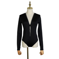 2019 Autumn Winter New Black Bottom Shirt Female Tight Sexy V Collar Long Sleeve Neckline Zipper Drill Top Sweater Black Women