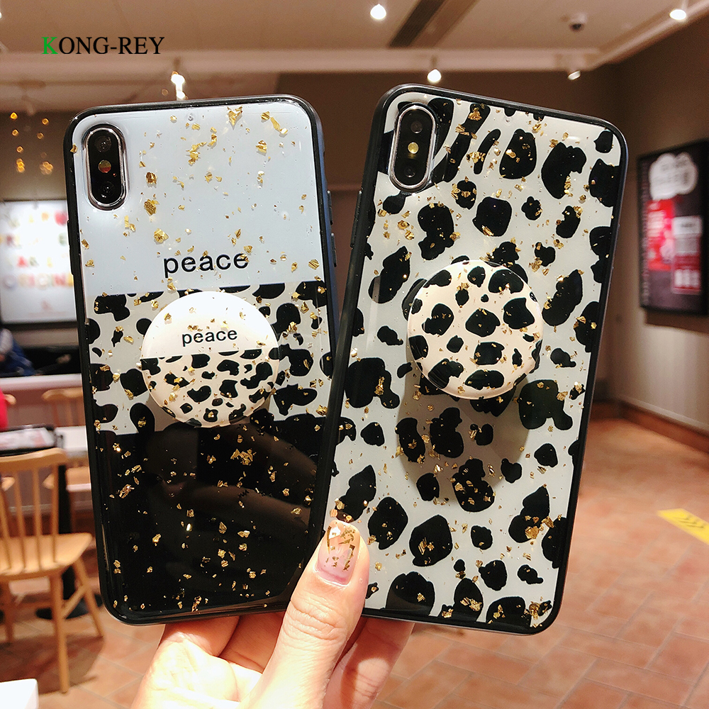 Gold foil sparkling Leopard Print Phone Case For iphone XS Max XR 10 Case For iphone 6 6s 7 8 plus Back Cover Luxury Soft Cases