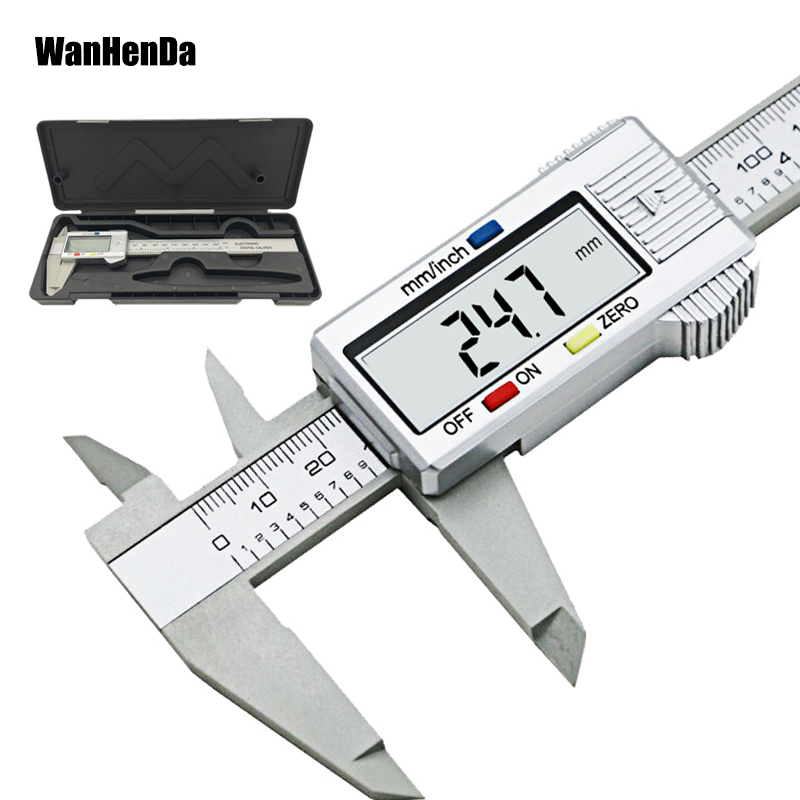 6inch LCD 150mm Digital Calipers Electronic Carbon Fiber Vernier Caliper Gauge Micrometer Model Digital Calipers Tool With A Box