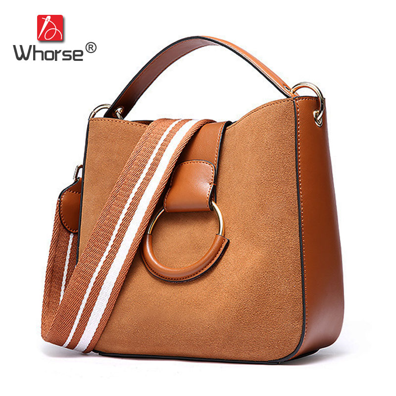 Vintage Casual Genuine Leather Bucket Bag With Gold Ring Women Scrub Cowhide Crossbody Shoulder Messenger Bags Small Handbag 2017 summer metal ring women s messenger bags solid scrub leather women shoulder bag small flap bag casual girl crossbody bags