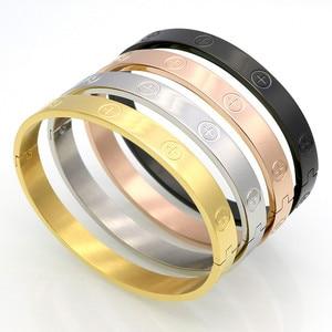 New Design Zircon And Cross Nut Nail Bracelets & Bangles For Women Luxury Brand Jewelry Stainless Steel Screw Jewelry Pulseiras(China)