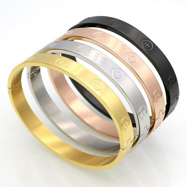 New Design Zircon And Cross Nut Nail Bracelets & Bangles For Women Luxury Brand Jewelry Stainless Steel Screw Jewelry Pulseiras