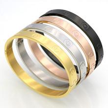 Nowy projekt cyrkon i krzyż nakrętka paznokci bransoletki i Bangles dla kobiet luksusowej marki biżuteria ze stali nierdzewnej śruba stalowa biżuteria Pulseiras tanie tanio LINGLEFENG Unisex STAINLESS STEEL Nastrój tracker Wszystko kompatybilny ROUND Złoto-kolor NE6322 Bransolety Klasyczny