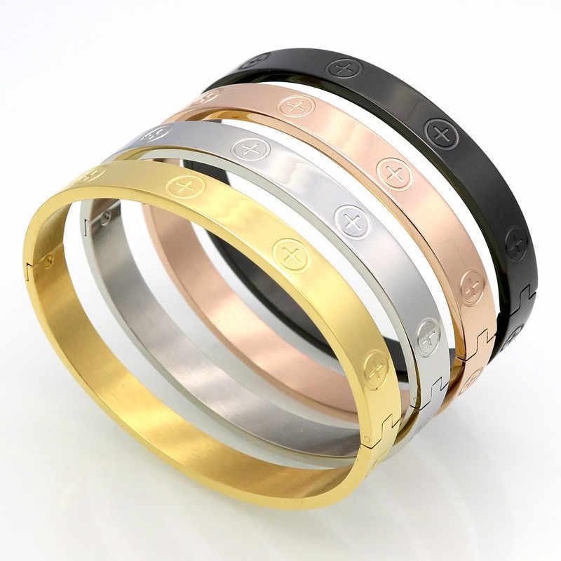 Nowy projekt cyrkon i krzyż nakrętka paznokci bransoletki i Bangles dla kobiet luksusowej marki biżuteria ze stali nierdzewnej śruba stalowa biżuteria Pulseiras