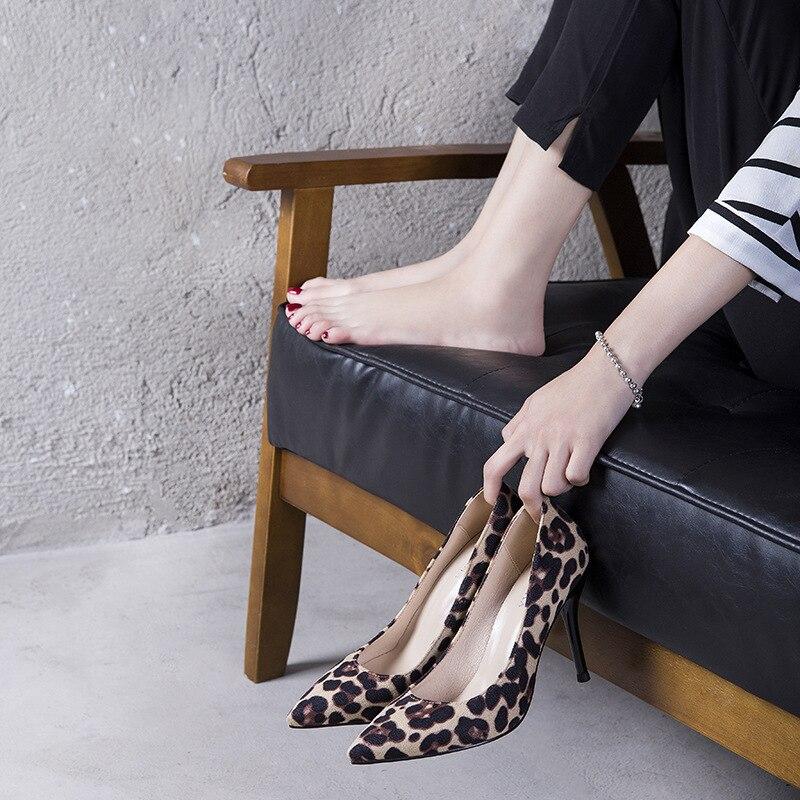 Mode Automne Léopard Femmes Simple Sexy Talons Hauts Chaussures À Rétro De 2018 Point Confortables Nouvelle Femmes hdQtsr