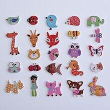 50 шт смешанные животные 2 отверстия деревянные Кнопки для скрапбукинга ремесла DIY Детские аксессуары для шитья одежды пуговицы украшения