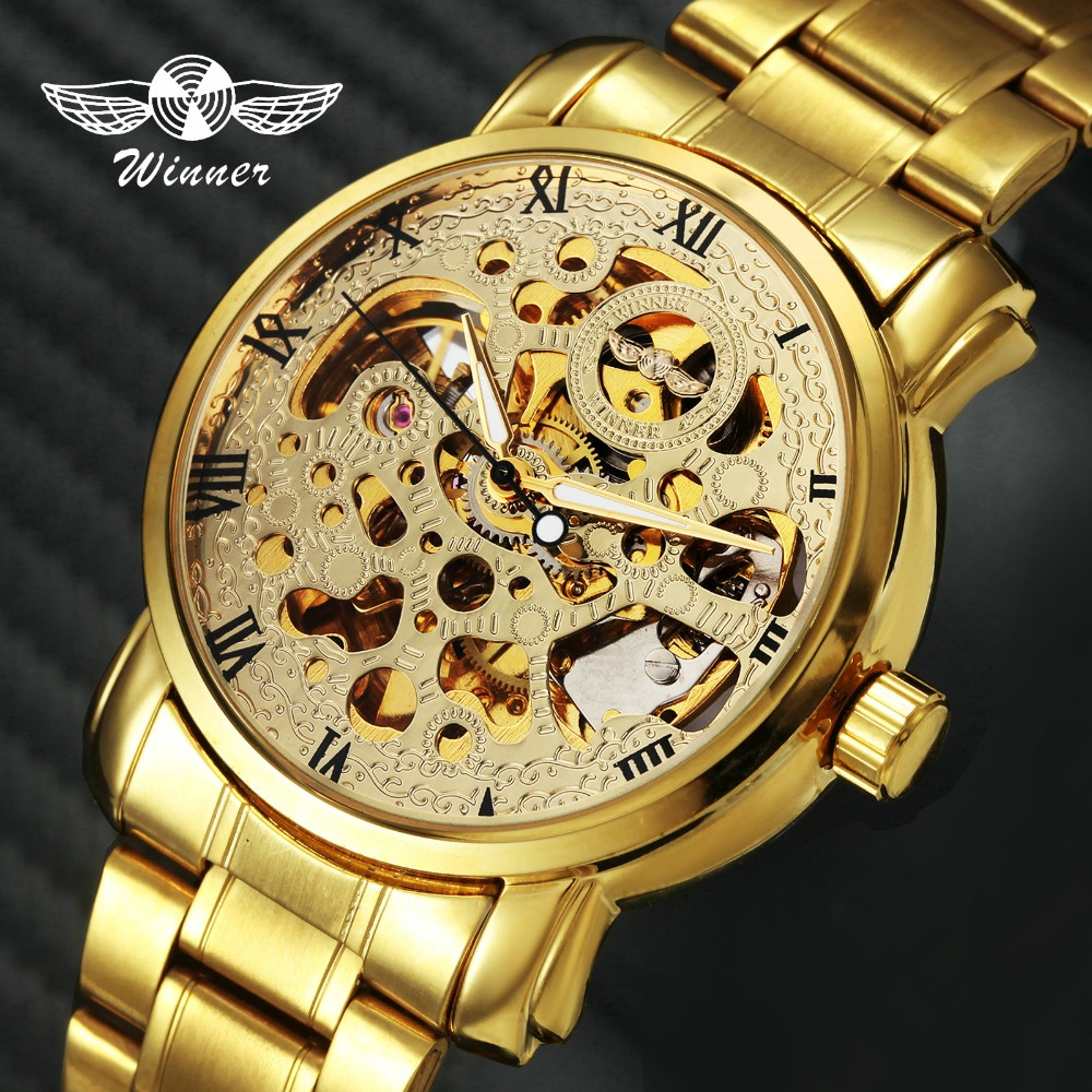 WINNER Luxury Unisex Couple's Auto Mechanical Watch Stainless Steel Strap Roman Number Skeleton Dial Design Lover's Gift + BOX