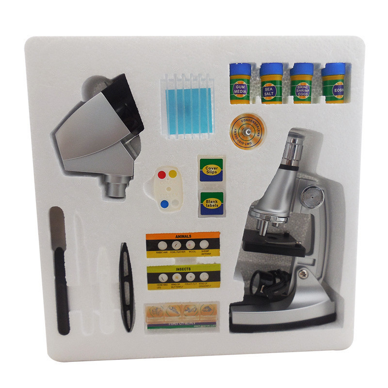 Microscope biologique 1200x de cadeau d'anniversaire d'enfants avec le Microscope d'enfants de jouets éducatifs d'étudiant de projecteur