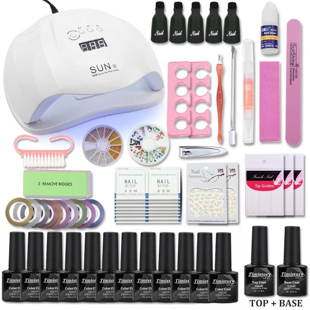Nail Gel polaco Nail Set con lámpara UV Led 36/48/54 W manicura pedicura accesorios manicura herramienta set elegir 12 Color Gel de uñas Kit