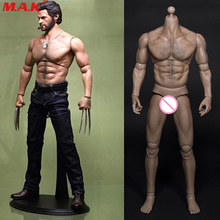 1/6 male man muscle body Wolverine Logan figure 31CM wide shoulder AT012 fit HT hot toys head sculpt and pants accessory