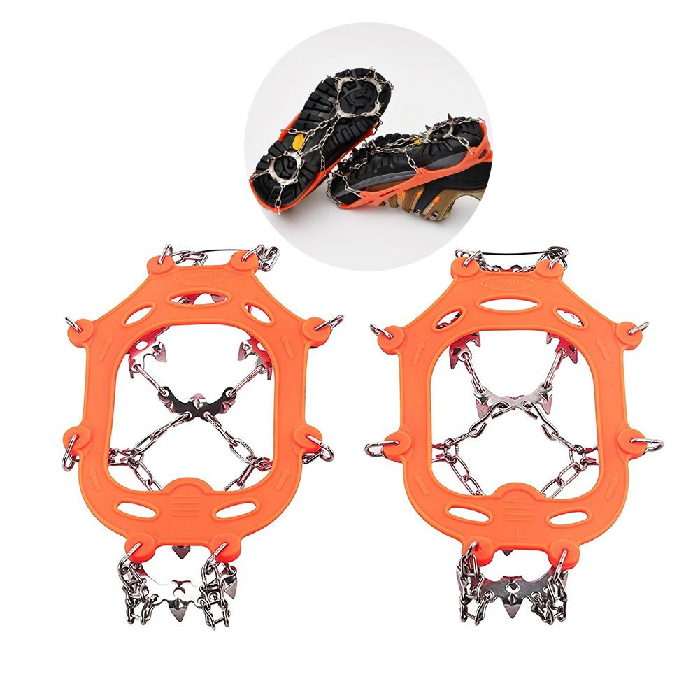 1 Pair 13 Teeth Ice Snow Grips Crampon Winter Hiking Climbing Shoes Cleats Chain Spikes For Shoes Boots Nonslip Footwear Useful