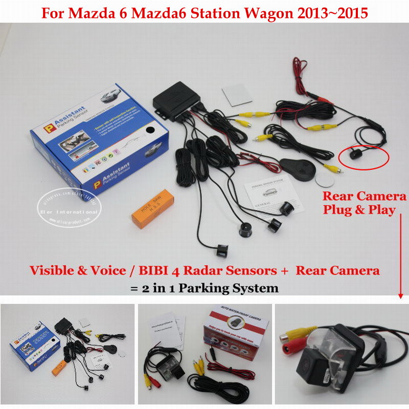 Liislee For Mazda 6 Mazda6 Station Wagon - Car Parking Sensors + Rear View Camera = 2 in 1 Visual / BIBI Alarm Parking System for ford focus mondeo 2008 2014 car parking sensors rear view camera 2 in 1 visual bibi alarm parking system