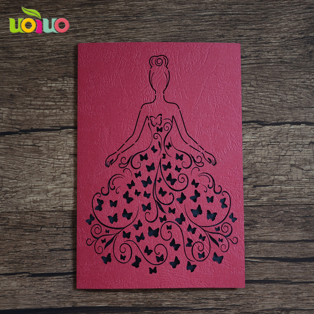Elegant Design China Red Color Cute Girl Design Laser Cut Birthday