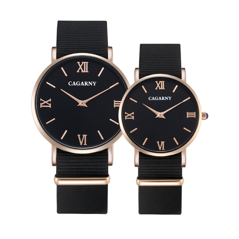 Cagarny Fashion Watch Women Rose Gold Men's Quartz Watches Men Casual Wristwatches For Lovers Unisex Nylon Strap Reloje Mujer autumn winter cool fashion black leather and suede spike heel short boots charming woman pointed toe ankle boots concise design