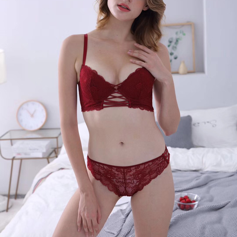 31d2d6b217 Wriufred Sense Cross with Lace Gathered Bra Set Wine Red Deep V on Thin and  Thick