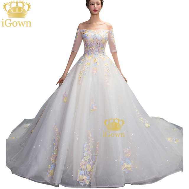 e605c4325f Igown Luxury Crystal Wedding Dress Boat Neck Colorful Flowers Lace