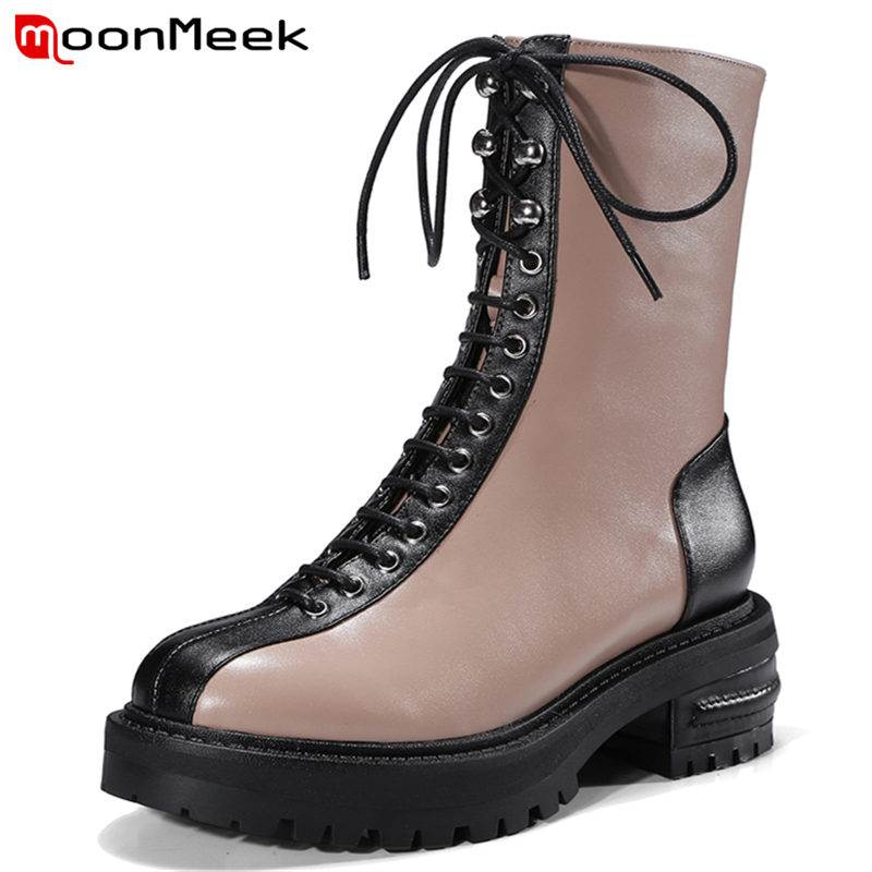 MoonMeek 2018 NEW fashion zipper genuine leather boots square med heel ankle boots women  round toe lace up autumn bootsMoonMeek 2018 NEW fashion zipper genuine leather boots square med heel ankle boots women  round toe lace up autumn boots